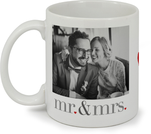 Heart Mr & Mrs Photo Custom Mug
