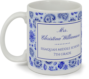 Royal Blue Watercolor Pattern Custom Mug