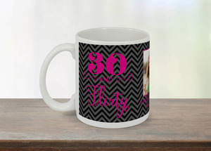 Black and Pink Flourish Thirty and Flirty Mug