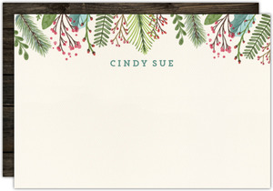 Woodgrain Holiday Leaves Christmas Notecard