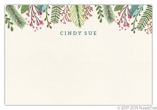 Christmas Notecard.Woodgrain Holiday Leaves Christmas Notecard
