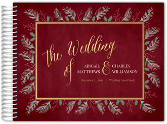 Winter Foliage Frame Wedding Guest Book