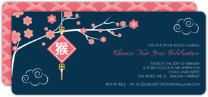 Pink Floral Chinese New Year Invitation