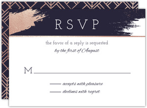 Faux Rose Gold Modern Brushstroke Wedding Response Card
