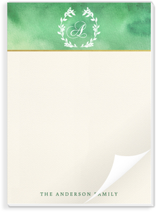Monogram Watercolor Wreath Notepad