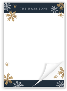 Faux Glitter Snowflake Holiday Notepad