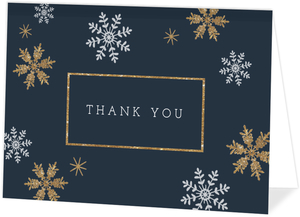 Faux Glitter Snowflake Folded Holiday Thank You Card