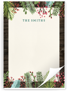 Woodgrain Holiday Leaves Christmas Notepad