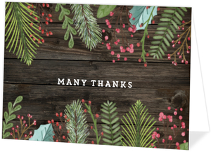 Woodgrain Holiday Leaves Folded Christmas Thank You Card