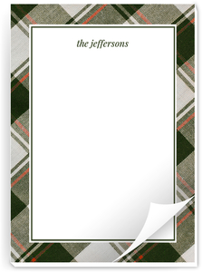 Olive Green Plaid Pattern Notepad