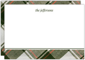 Olive Green Plaid Pattern Christmas Notecard