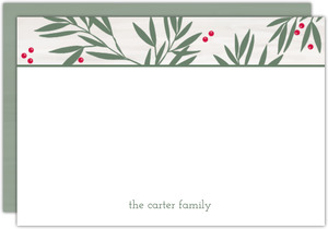 Peaceful Green Laurel Christmas Thank You Card