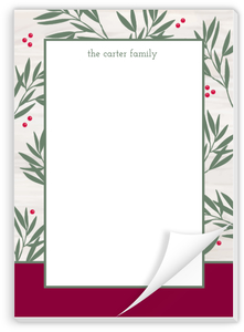 Peaceful Green Laurel Christmas Notepad