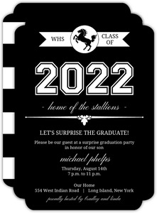 Classic Black and White Graduation  Invitation