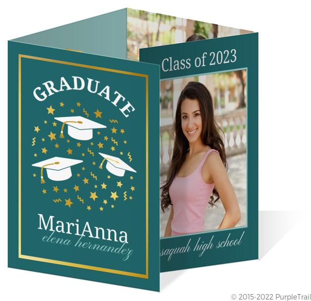 elegant turquoise graduation announcement - Graduation Announcement Cards