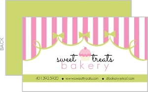 Pink and Green Bakery Business Card
