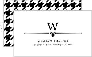 Black And White Formal Houndstooth Business Card