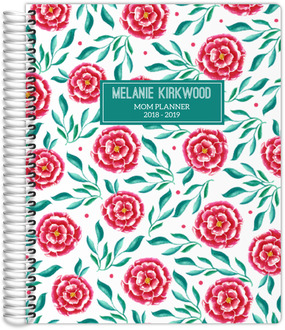 Pink and Green Floral Pattern Custom Mom Planner 8.5x11