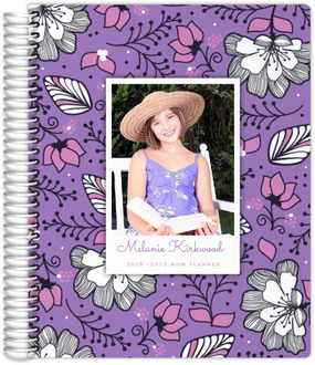 Purple & Pink Floral Photo Custom Mom Planner 8.5x11