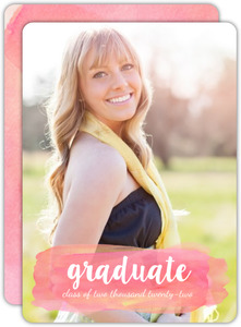 Pink Watercolor and White Script Graduation Invitation