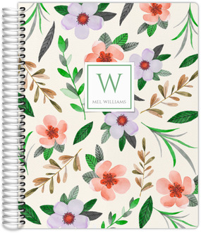 Red Watercolor Floral Monthly Planner