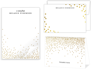 Golden Faux Foil Confetti Stationery Set