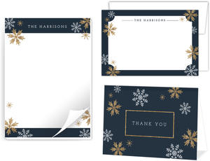 Faux Glitter Snowflake Stationery Set