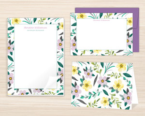 Purple Watercolor Floral Stationery Set