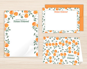 Watercolor Peach Stationery Set