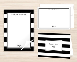 Classic Striped Border Stationery Set