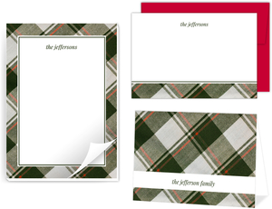Olive Green Plaid Pattern Stationery Set