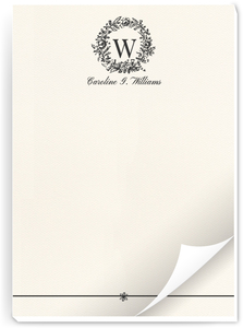 Classic Wreath Initial Notepad