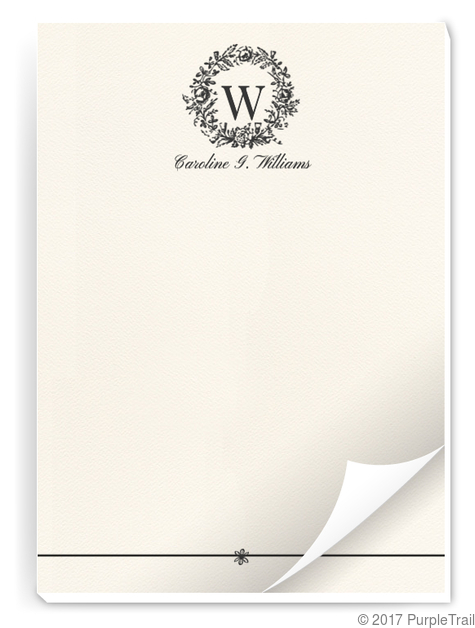 classic wreath initial notepad personalized notepads