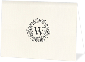 Classic Wreath Initial Thank You Card