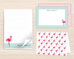 Sweet Pink Flamingo Stationery Set