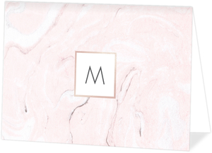 Blush Marble Folded Notecard