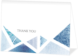 Blue Foil Geometric Thank You Card