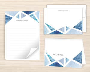 Blue Foil Geometric Stationery Set