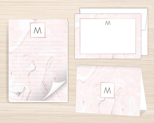 Blush Marble Stationery Set