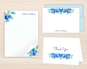 Blueberry Watercolor Stationery Set