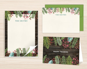 Woodgrain Holiday Leaves Stationery Set