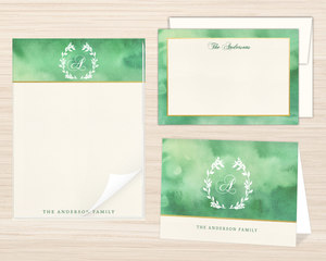 Monogram Watercolor Wreath Stationery Set