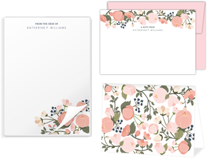 Pink Spring Floral Stationery Set