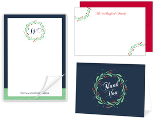 Whimsical Mistletoe Wreath Stationery Set