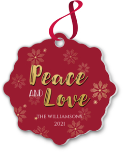 Peace and Love Snowflake Ornament