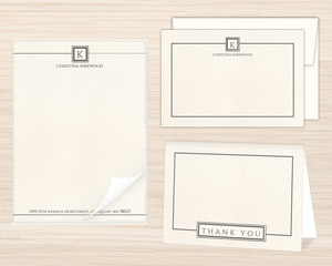Modern Initial Square Stationery Set