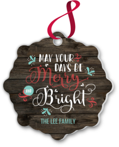 Merry and Bright Woodgrain Pattern Ornament