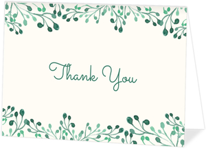 Whimsical Greens Thank You Card