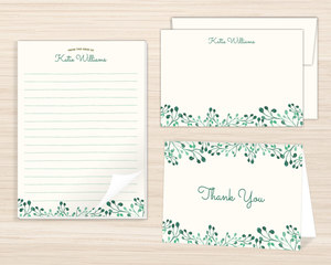 Whimsical Greens Stationery Set