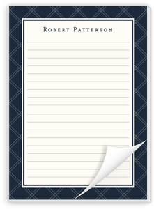 Navy Plaid Notepad